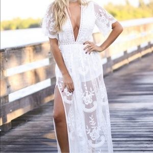 Maxi Romper Lace Wedding Dress